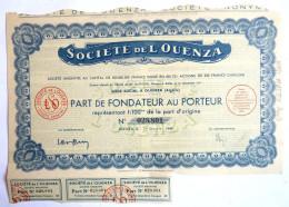 ACTION SOCIETE DE L'OUENZA Algerie  -  1948 TITRE 028801 - Afrique