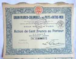 ACTION UNION FRANCO COLONIALE ET DES PAYS D'OUTREMER  -  1926 TITRE 9087 - Afrique