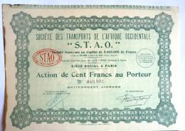 ACTION SOCIETE DES TRANSPORTS DE L'AFRIQUE OCCIDENTALE S.T.A..0. -  1927 TITRE 049307 - Afrique