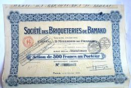 ACTION SOCIETE DES BRIQUETERIES DE BAMAKO Mali -  1925 TITRE 000686 - Afrique