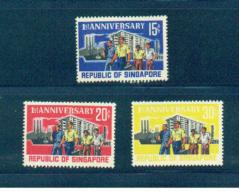 Singapore 1966 Scott 73-5 1st Anniversary Of Republic MNH** - Singapore (1959-...)
