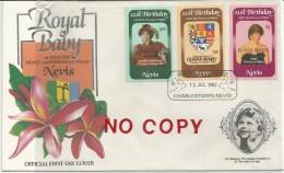 Nevis, 12.7.1982, Francobolli 21° Compleanno Lady Diana Soprastampati Royal Baby Su Busta Primo Giorno Di Emissione. - Antille