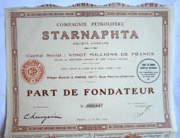 ACTION COMPAGNIE PETROLIFERE STARNAPHTA  - 1926 TITRE 00887 - Pétrole