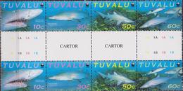 Tuvalu WWF Sand Tiger Shark Full Gutter Strip SG#872/75 SC#816 A-d MI#862-65 - W.W.F.