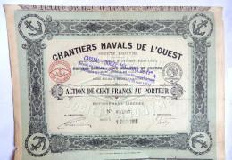 ACTION CHANTIERS NAVALS DE L'OUEST  - 1918 TITRE 03207 - Transports