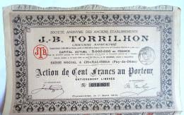 ACTION SOCIETE ANONYME DES ANCIENS ETABLISSEMENTS J.B. TORRILHON Pneus Roues  - 1916 TITRE 018801 - Automobile