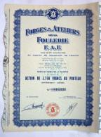 ACTION FORGES ET ATELIERS DE LA FOULERIE F.A.F.   - 19?? TITRE 016338 - Industrie