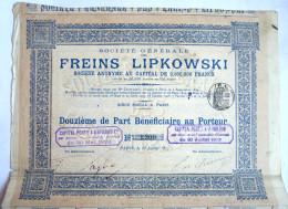 ACTION SOCIETE GENERALE FREINS LIPKOWSKI   - 1913 TITRE 1309 - Automobile