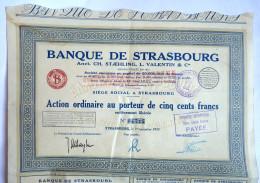 ACTION BANQUE DE STRASBOURG   - 1933 TITRE 04715 - Banque & Assurance