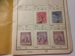 ANCIEN CARNET TIMBRE FIN 19eme TRINIDAD COLOMBIE JAMAICA EGYPTE SUDAN MILITARY MALTE ISLANDS - Collections (en Albums)