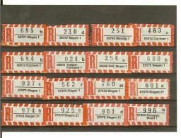 (1683) 12 St. R-Zettel, 5-st. PLZ, MAYEN, Mendig, COCHEM, Traben-Trarbach, ZELL, SIEGEN, Kreuztal, PLZ 56 Und 57 - [7] República Federal
