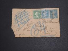 FRANCE - Entier Postal De St Denis Sur Seine Pour Paris En 1923, Obl Pneumatique - A Voir - L  3609 - Postal Stamped Stationery