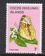 Cocos (Keeling) Islands 1982 Butterflies Definitives 1c Value, MNH (B) - Cocos (Keeling) Islands