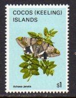 Cocos (Keeling) Islands 1982 Butterflies Definitives $1 Value, MNH (B) - Cocos (Keeling) Islands