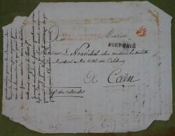 Lettre Avec Cachet Rouge Bureau De Postes Chambre Des Députés Des Départements, 60 Port Payé Pour Caen. - Marcophilie (Lettres)