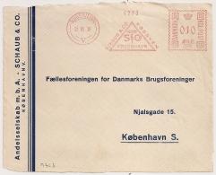 COVER FRONT SCHAUB & CO KOBENHAVN. 1936. - Marcophilie - EMA (Empreintes Machines)