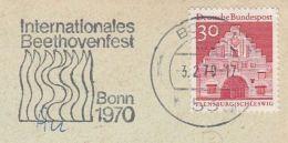 1970 Bonn GERMANY Stamps COVER SLOGAN Pmk INTERNATIONAL BEETHOVEN FESTIVAL Music - Music