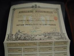 """Action Privilégiée""""Cie Auxiliaire Industrielle""""Bruxelles 1897 Reste Des Coupons. - Industrie"""