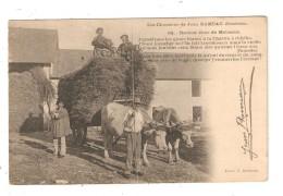 CPA 18 Chanson Jean Rameau Dernier Jour Des Moissons Attelage Boeufs Hommes En Costumes Berrichons - Personnages