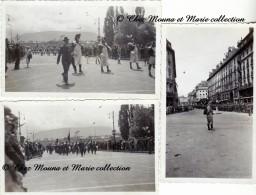 SUISSE - GENEVE JUILLET 1933 - DEFILE MILITAIRE - LOT DE 3 PHOTOS 11 X 7 CM - Guerre, Militaire