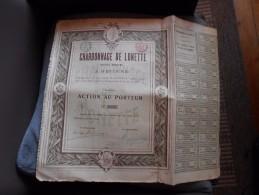"""Action""""Charbonnage De Lonette"""" Retinne (Liège) Charbon 1910 Reste Des Coupons N°0557 - Mines"""