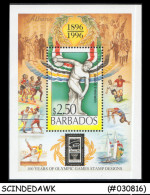 BARBADOS-1996 MINI SHEET MINT NH, 100 YRS OF OLYMPIC GAMES