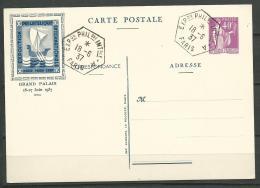 FRANCE: Obl., ENTIER, N°281CP, Spécial PEXIP 1937, TB - Cartes Postales Types Et TSC (avant 1995)