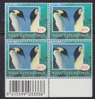 Ross Dependency 1995 Penguin 40c Value Bl Of 4 (code In Margin)  ** Mnh (32452C) - Ross Dependency (Nieuw-Zeeland)