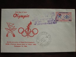 1964 Nepal - Tokyo Summer Olympic Games - Postally-Used FDC (Flag + Emblem) - Summer 1964: Tokyo