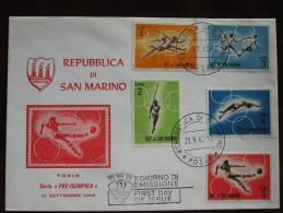 "1963 San Marino - 1964 Tokyo Summer Olympic Games ""pre-olympic"" Issue - Unaddressed FDC (4 X Athletics + Football) - Summer 1964: Tokyo"