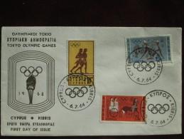 1964 Cyprus - Tokyo Summer Olympic Games - Unaddressed FDC (Various Ancient Greek Sportsmen) - Summer 1964: Tokyo