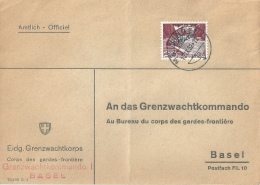 """Amtlicher Brief  """"Grenzwachtkommando Basel""""  Meiringen          1952 - Servizio"""