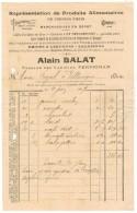 FACTURE PUBLICITAIRE DOCUMENT COMMERCIAL PERPIGNAN Alain BALAT Alimentation Cafés Chicorée LA NEUSTRIENNE Rhums Liqueurs - Levensmiddelen
