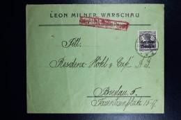 German Post In Poland, Letter  Warschau To Breslau  CDS Warschau Ruch  Nr ON12 In Red Poznan Transit