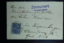 Austrian Post In Poland, Letter  Krakow To Copenhagen 1915 Postmarked Zensuriert CDS Krakow  25 Heller Stamp