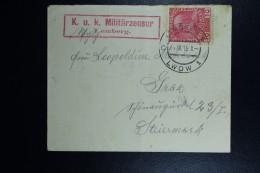 Austrian Post In Poland, Cover 1915 Lemberg Lwow To Graz KuK Militärzensur In Red Box