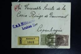Austrian Post In Poland, Registered Cover 1915 Krakow To Copenhagen CDS Karkau Krakow Purple KuK Militairzensur / Krakau