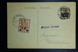 German Post In Poland Postcard Russish Polen + Local Warsaw Stamp Railroad Bridge Vistula At Warsaw - Occupation 1914-18