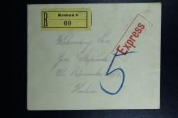 Austrian Post In Poland, Registered Letter Local Karkau, Express Label 15+40 Heller Stamps On Back