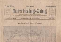 MAURER FASCHINGSZEITUNG Ausgabe Am 5.März 1905, Gebrauchter Zustand (eingerissene Stellen S.Scan), 4 Seiten, Größe ... - Sonstige