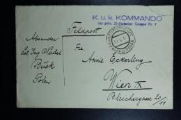 Austrian Post In Poland, Fieldpost Letter Of KuK Kommando Of Polish Civil Workers Busk To Vienna 1917 - 1850-1918 Imperium
