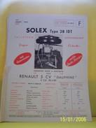 PLANCHE TECHNIQUE. SOLEX .   100_2629CPLTMELU. - Machines