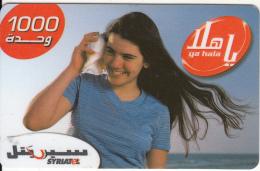SYRIA - Girl, SyriaTel Prepaid Card 1000 SP, Used