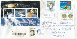 Cosmodrome De Baïkonour (CINQUANTENAIRE) Bloc-feuillet Sur Lettre Recommandée,  LR, Adressée ANDORRA, - Kazakhstan