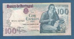 PORTOGALLO - 1981: BANCONOTA DA 100 ESCUDOS SERIE BXG 14763 - CIRCOLATA - IN BUONE CONDIZIONI. - Portugal