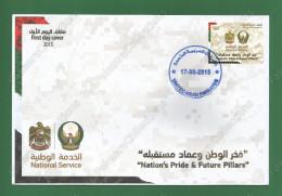 2015 UAE Emirates Emirats Arabes VAE - NATIONAL SERVICE FDC MNH ** - Nation Pride Future Pillars , Military Coat Of Arms - Briefe U. Dokumente