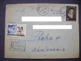 Romania Registered Letter Bistrita (Cluj) To Czechoslovakia 1961 - Stamp Komensky 2 Lei + Laika Space Dog 1,2 Lei - Covers & Documents