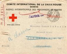Env.C.R. GENEVE  Avec Correspondance  Pour Un INTERNE CIVIL ILE LONGUE   29  1919 - Red Cross