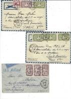 1949- 3 Enveloppes PAR AVION De MYTHO ( Cochinchine ) Pour La France - Affr. Divers - Indocina (1889-1945)