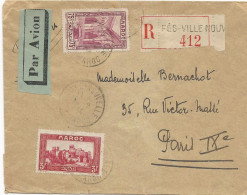 LETTRE RECOMMANDEE PAR AVION 1934 - Morocco (1891-1956)